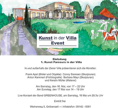 Einladung zum Kunst Parcours in der Villa
